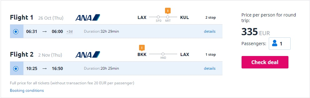 Error Fare Los Angeles Kuala Lumpur and Bangkok