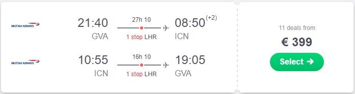 Cheap Flight from Geneva to Seoul in 2017, November