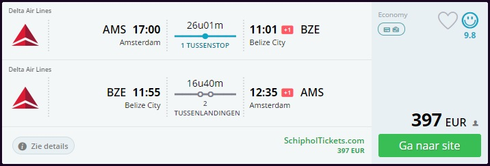 Error Fare Flight from Amsterdam to Belize