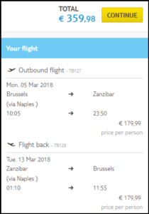 cheap flights- brussels to zanzibar