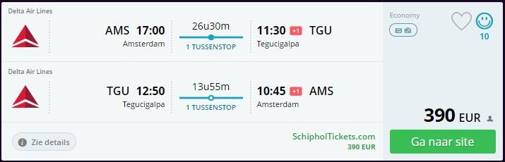 Low Cost Flight Deal Amsterdam Honduras