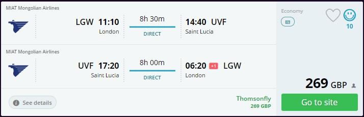 Cheap Return Flight from London to St Lucia