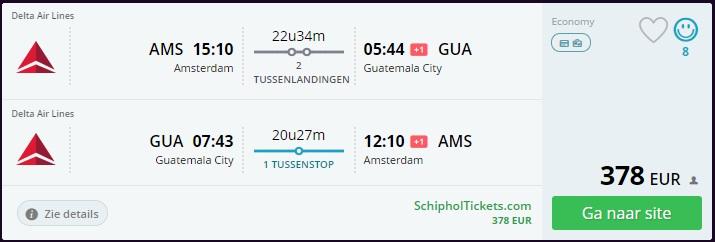 Flight Offer Amsterdam to Guatemala City