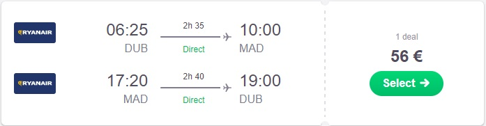 Low Cost Flight Dublin to Madrid
