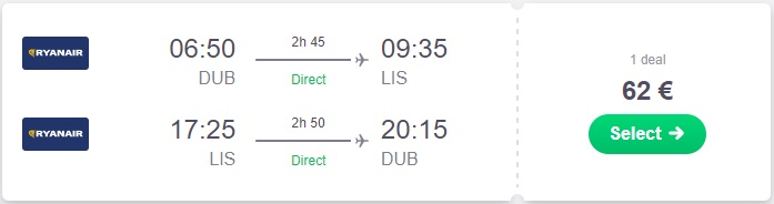 Low Fare Return Flight from Dublin to Lisbon