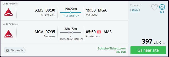 Cheap Flight Amsterdam Managua