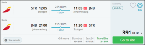 low fara ticket- johannesburg